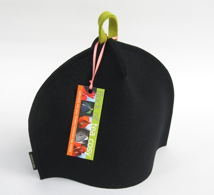 Modern Black tea cosy with Bright Green hang-tab