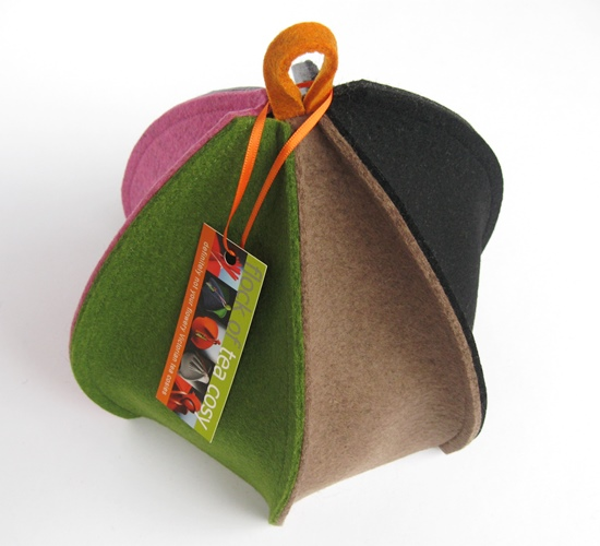 "The unique ""Ribbed"" 6-sided tea cosy by Flock of Tea cosy SOLD"