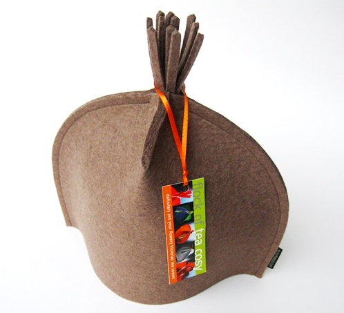 Small Modern tasseled Tea Cosy in Camel
