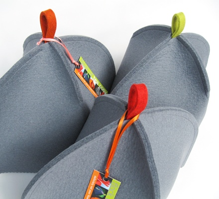 A flock of modern tea cosies in Cashmere Grey wool felt SOLD