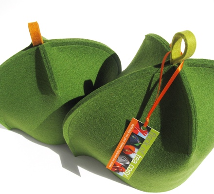 Modern Moss Green tea cosies topped with contrasting hang-tabs