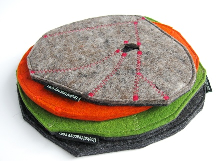 Reversible teapot trivets in thick wool felt