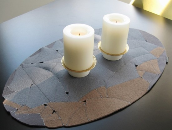 Elegant, handmade table-topper in European wool felt soft neutrals.