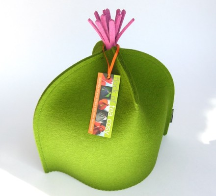 Modern Tea Cozy with Tassel in Moss Green with Fuchia Tassel