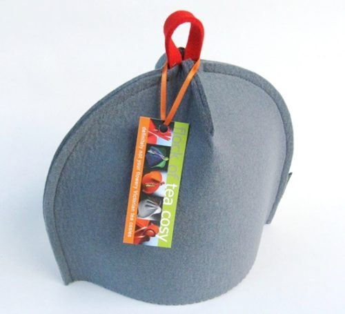 Small modern tea cosy in Cashmere Grey wool felt with a red hang tab