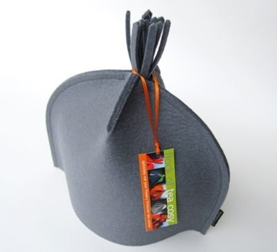 Teaware Sale Small Tea Cosy w Tassel in Cashmere Grey wool felt