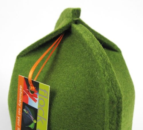 Modern coffee cozy for french press in Moss Green wool felt