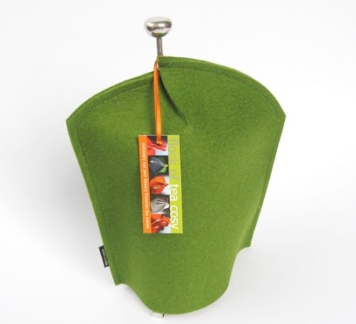 Clever modern design coffee cosy in Moss Green wool felt