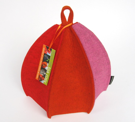 6-sided Modern Tea Cosy in Pink Orange & Red by Flock of Tea Cosy SOLD