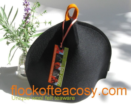 sample sale modern tea cozy in black wool felt