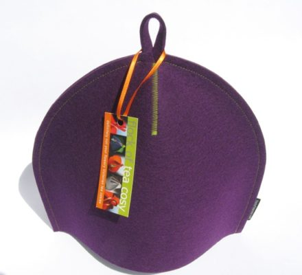 Small Modern Tea Cozy in Purple Wool Felt