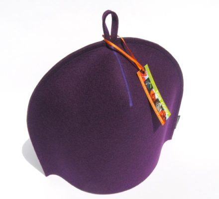 Modern Designer Tea Cozy in Purple Wool Felt