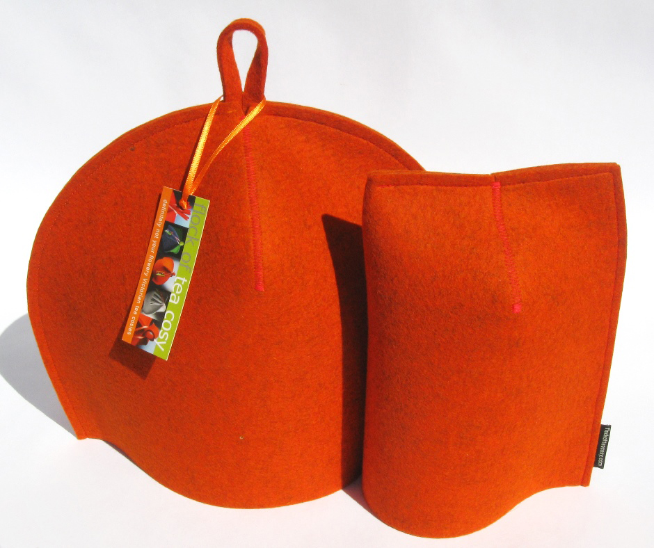 Burnt Orange wool felt modern cozies