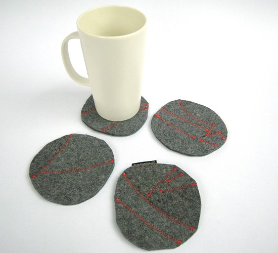 Four one of a kind designer wool felt drink coasters