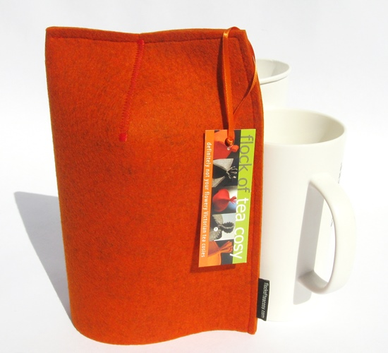 Modern masculine mug cozy in Burnt Orange wool felt