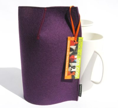 Cleanly designed modern mug cozy in purple european wool felt