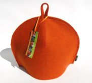 Modern tea cozy in Burnt Orange wool felt