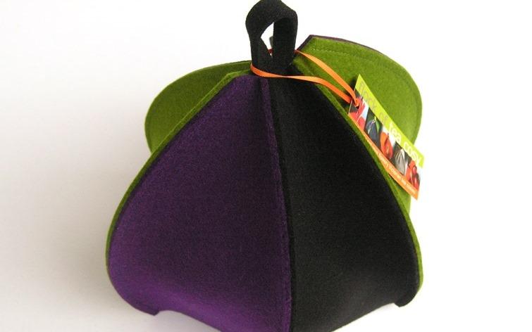 Multi-coloured tea cosies