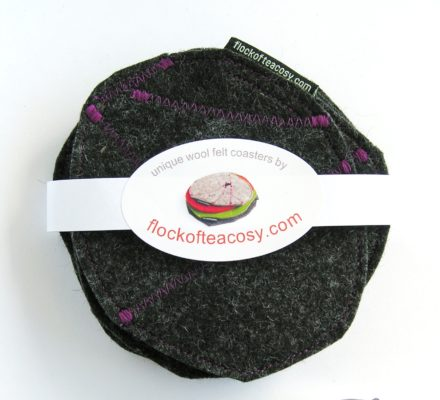Set of 4 Coasters in Grey Flannel