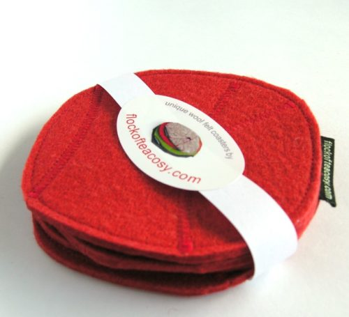 Set of 4 coaster in Tomato Red wool felt
