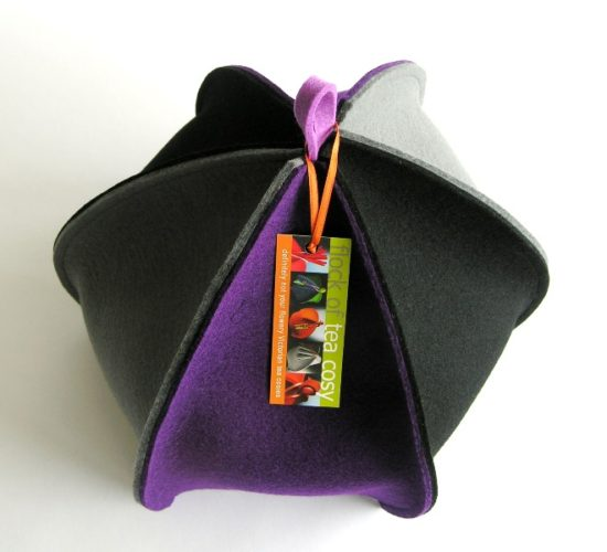 Wool Felt Tea Cosy in Purple Black & Grey
