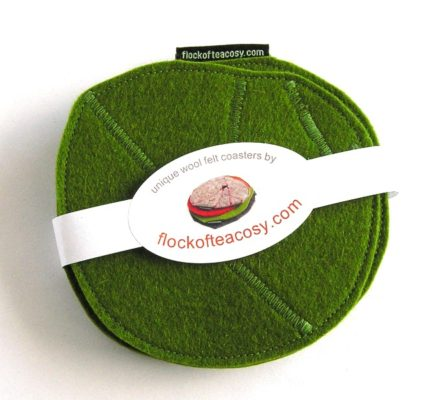 Coaster set in wool felt in Moss Green