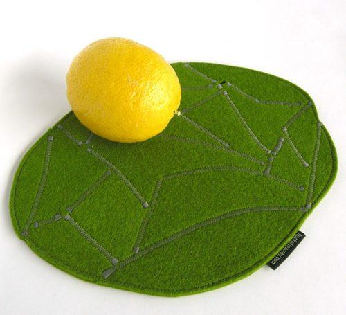 Moss green mousepad in wool felt
