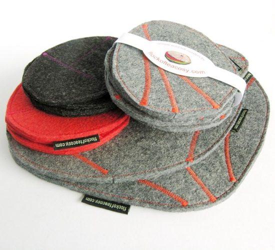 Eco concious wool felt trivets coasters mousepads hotpads