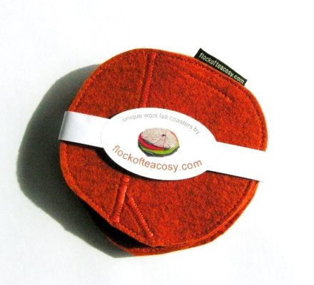 Coaster set of 4 in Burnt Orange wool felt