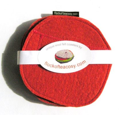 Coaster set in Pimento Red wool felt