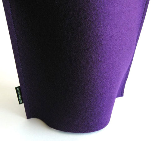 Modern coffee cosy with simple clean design in Royal Purple wool felt