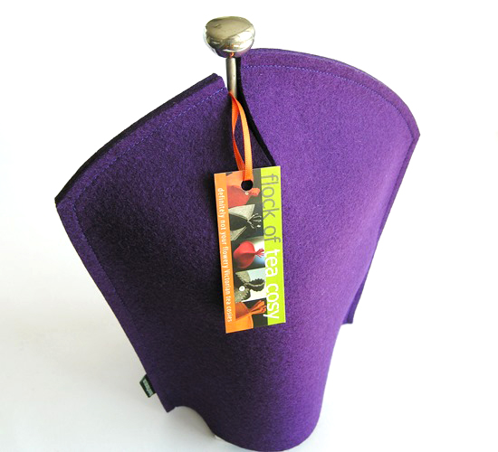 Modern masculine coffee cozy for Bodum french press in purple wool felt