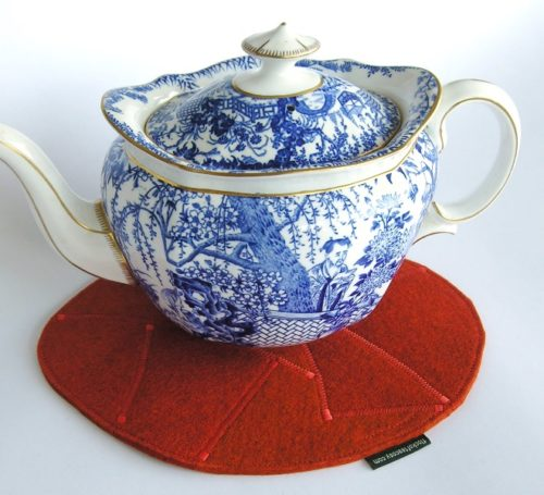 Mousepad or teapot trivet in burnt orange wool felt
