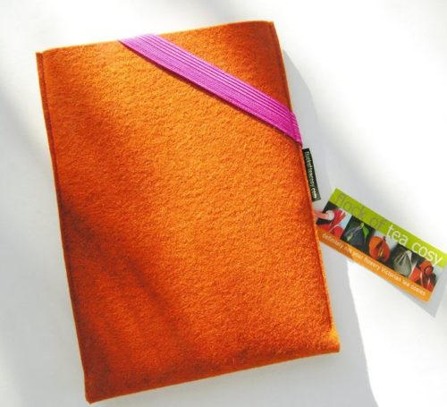 Sample sale tablet sleeve orange wool felt