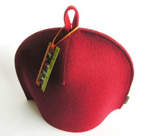 Modern tea cozy in Mulberry Red wool felt for a 4cup teapot
