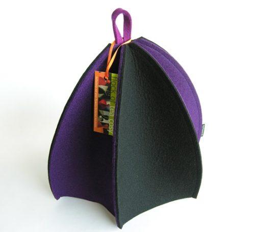 Six paneled tea cozy in Purple & Black wool felt