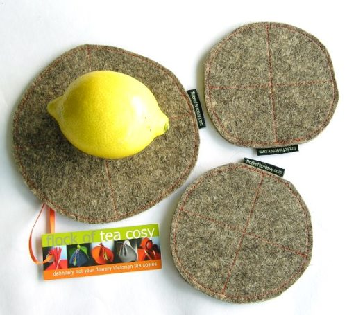 Gift set of a Trivet and two coasters in industrial wool felt