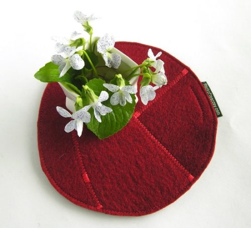 Teapot hotpad in Mulberry Red wool felt