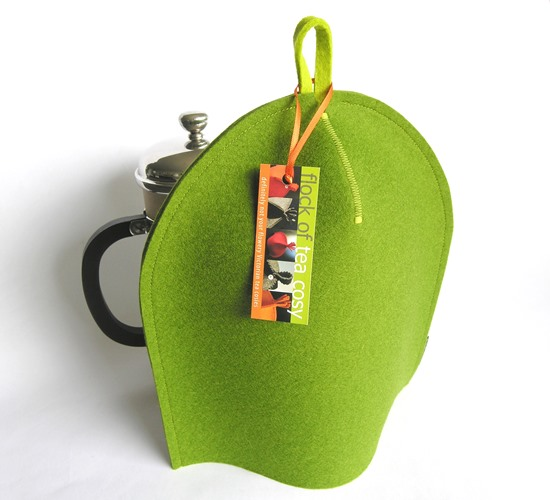 Modern french press coffee cozy in Moss Green wool felt